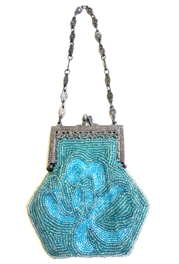 1920's Inspired Gatsby Beaded Mini Evening Purse - Turquoise Aqua - The Deco Haus