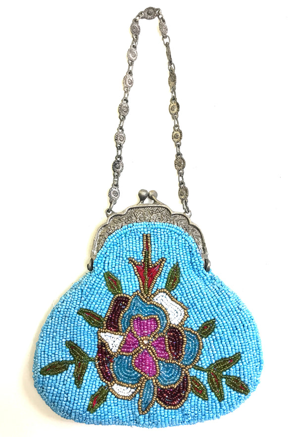 1920's Inspired Gatsby Beaded Mini Evening Purse - Turquoise Floral - The Deco Haus