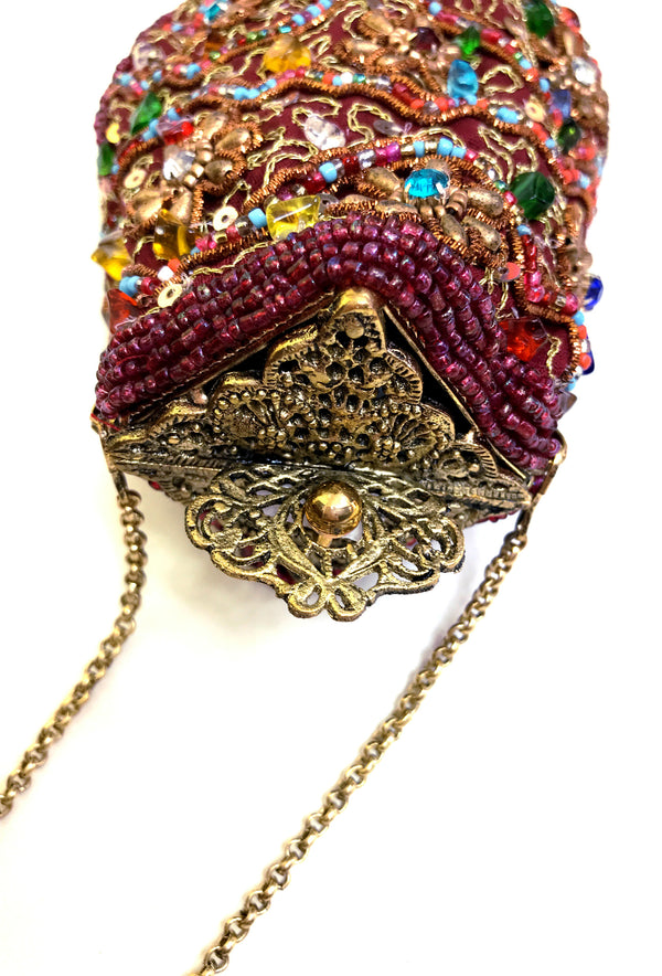 1920's Inspired Gatsby Beaded Morocco Tassel Evening Purse - Burgundy Red - The Deco Haus