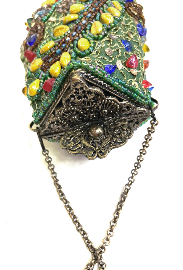 1920's Inspired Gatsby Beaded Morocco Tassel Evening Purse - Spring Green - The Deco Haus