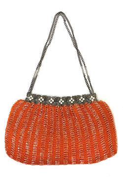 1920's Inspired Gatsby Beaded Rhinestone Crochet Evening Purse - Vermillion Orangee