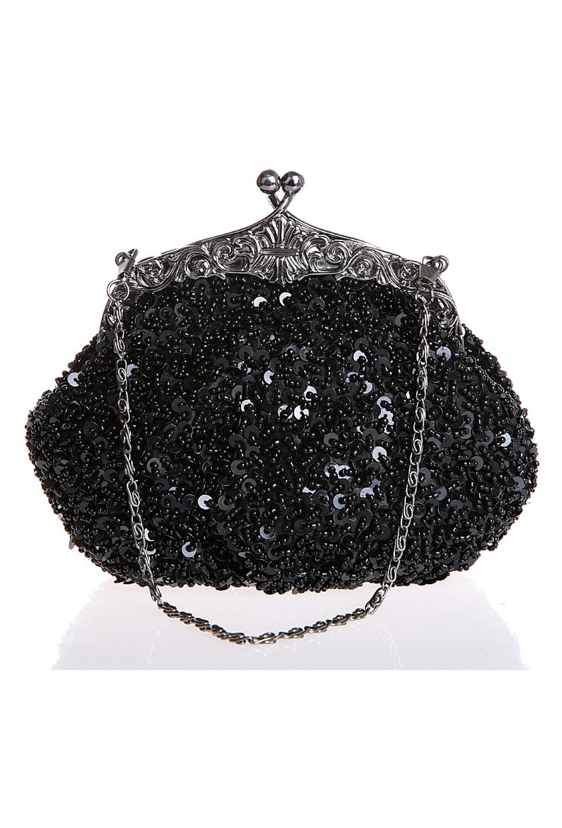 1920's Inspired Gatsby Beaded Sequin Glamour Purse - Black - The Deco Haus