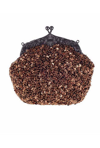 1920's Inspired Gatsby Beaded Sequin Glamour Purse - Copper