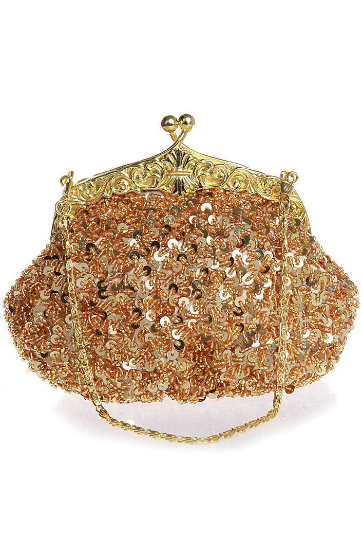 1920's Inspired Gatsby Beaded Sequin Glamour Purse - Gold - The Deco Haus