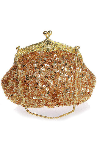 1920's Inspired Gatsby Beaded Sequin Glamour Purse - Gold
