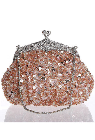 1920's Inspired Gatsby Beaded Sequin Glamour Purse - Rose Gold