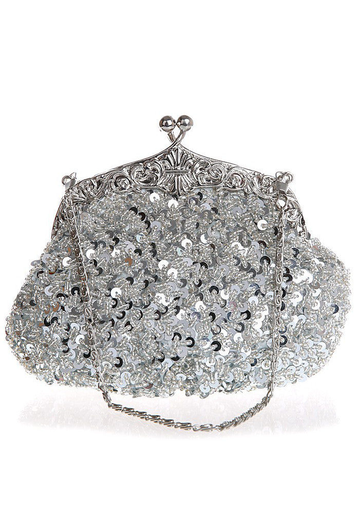 1920's Inspired Gatsby Beaded Sequin Glamour Purse - Silver - The Deco Haus
