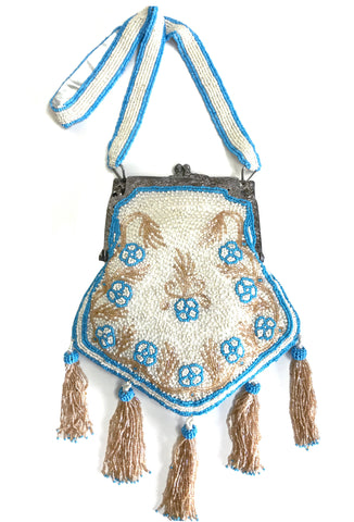 1920's Inspired Gatsby Beaded Tassel Evening Purse - Cream Gold Turquoise