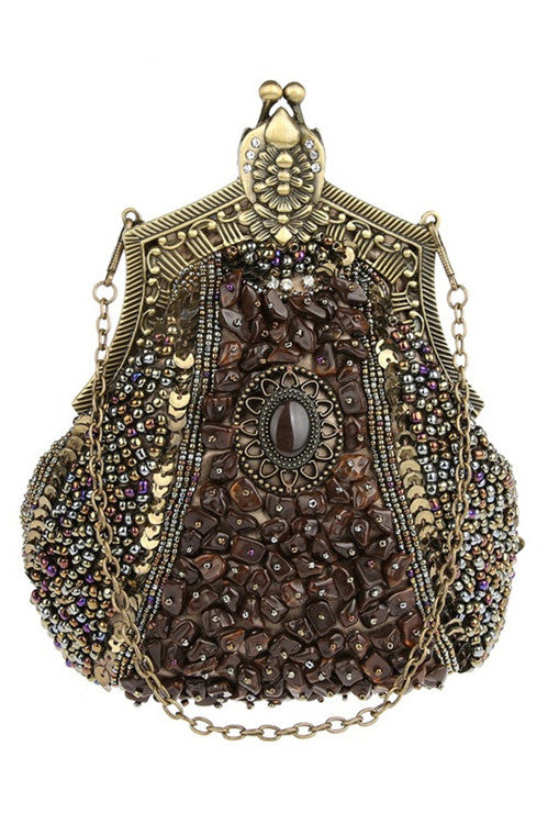 1920's Inspired Gatsby Beaded Teardrop Evening Purse - Chocolate Brown - The Deco Haus