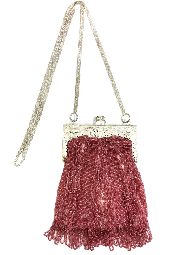 1920's Inspired Gatsby Loop Beaded Evening Bag - Antique Raspberry