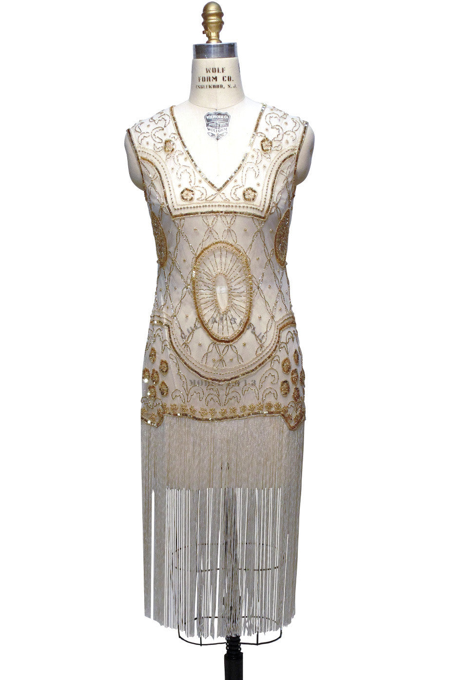 1920s Gatsby Flapper Fringe Party Dress   The Lulu   Pearl Gold   The Deco  Haus ...