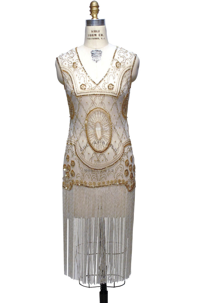 1920s Gatsby Flapper Fringe Party Dress - The Lulu - Pearl Gold - The Deco Haus