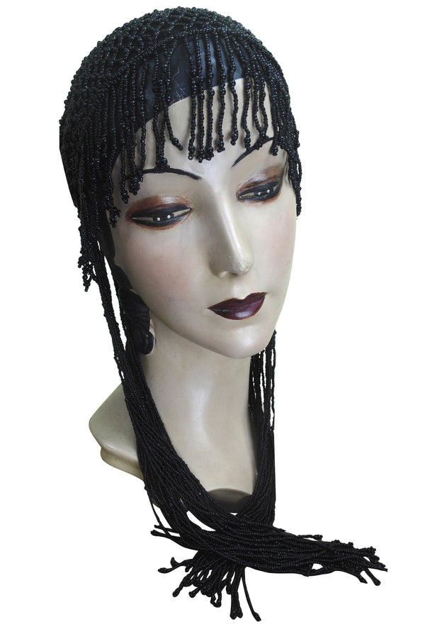 1920s Hand Beaded Gatsby Lattice Flapper Party Cap - Long Fringe - Black Jet - The Deco Haus