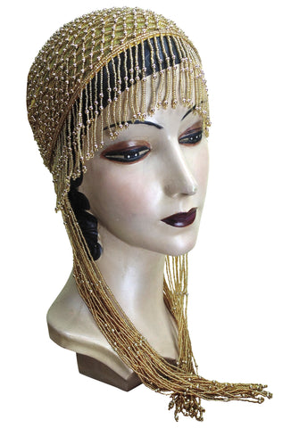 1920s Hand Beaded Gatsby Lattice Flapper Party Cap - Long Fringe - Yellow Gold