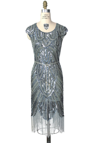 1920's Style Flapper Fringe Art Deco Party Dress - The Deco 54 - Black Silver