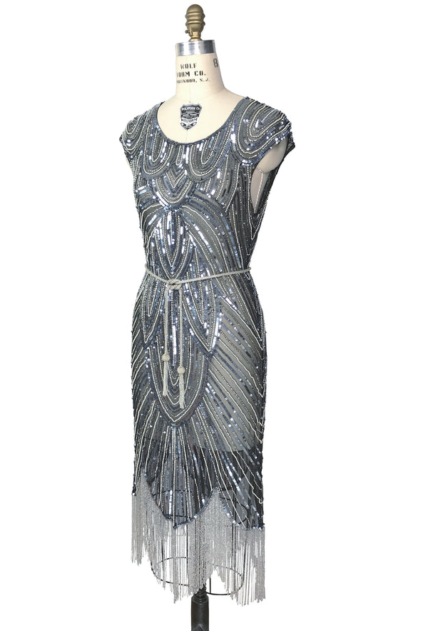1920's Style Flapper Fringe Art Deco Party Dress - The Deco 54 - Black Silver - The Deco Haus