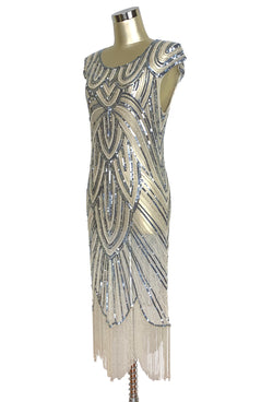 1920's Style Flapper Fringe Art Deco Party Dress - The Deco 54 - Champagne Silver Pearl