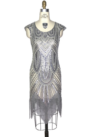 1920's Style Flapper Fringe Art Deco Party Dress - The Deco 54 - Cream Silver