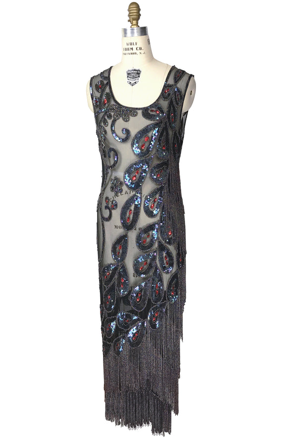 1920's Vintage Beaded Fringe Evening Gatsby Gown - The Peacock - Black Iridescent - The Deco Haus