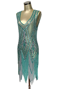 1920's Vintage Flapper Beaded Fringe Cutout Gatsby Gown - The Icon - Two-Tone Aquamarine - The Deco Haus
