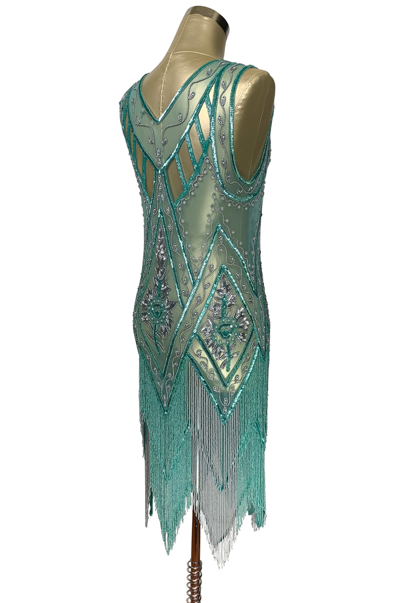 1920's Vintage Flapper Beaded Fringe Cutout Gatsby Gown - The Icon - Two-Tone Aquamarine
