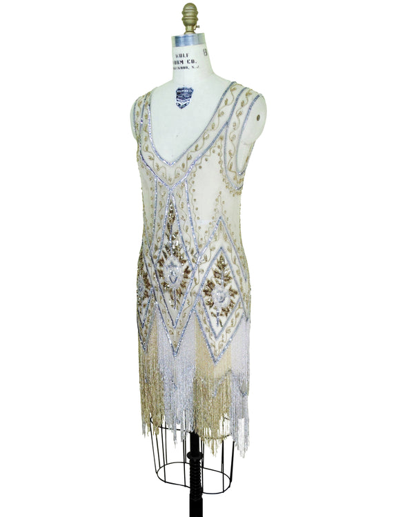 1920's Vintage Flapper Beaded Fringe Cutout Gatsby Gown - The Icon - Two-Tone Metallic - The Deco Haus