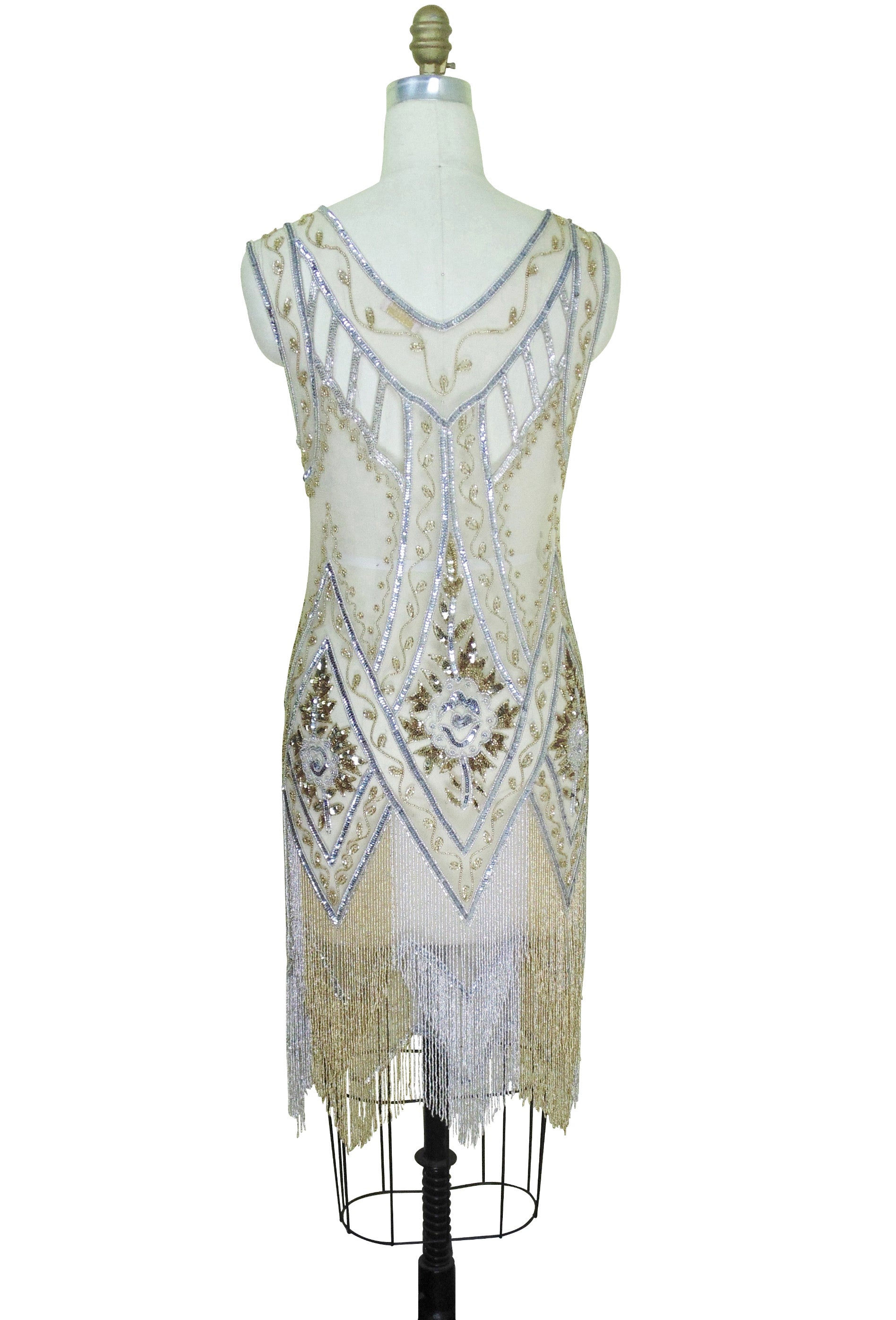 1920\'s Vintage Flapper Beaded Fringe Cutout Gatsby Gown - The Icon ...