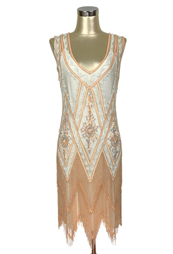 Great Gatsby Dress – Great Gatsby Dresses for Sale 1920S VINTAGE FLAPPER BEADED FRINGE GATSBY GOWN - CUT OUT BACK - THE ICON - CREAM AND APRICOT $399.95 AT vintagedancer.com