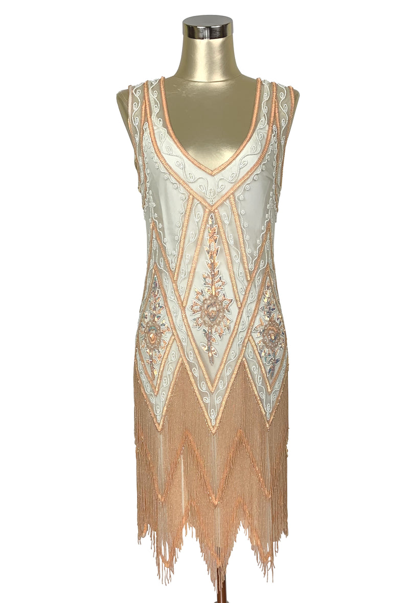 1920's Vintage Flapper Beaded Fringe Gatsby Gown - Cut Out Back - The Icon - Cream and Apricot - The Deco Haus