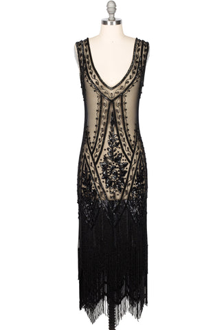 1920's Vintage Flapper Beaded Fringe Gatsby Gown - The Icon - Black Jet - Full-Length