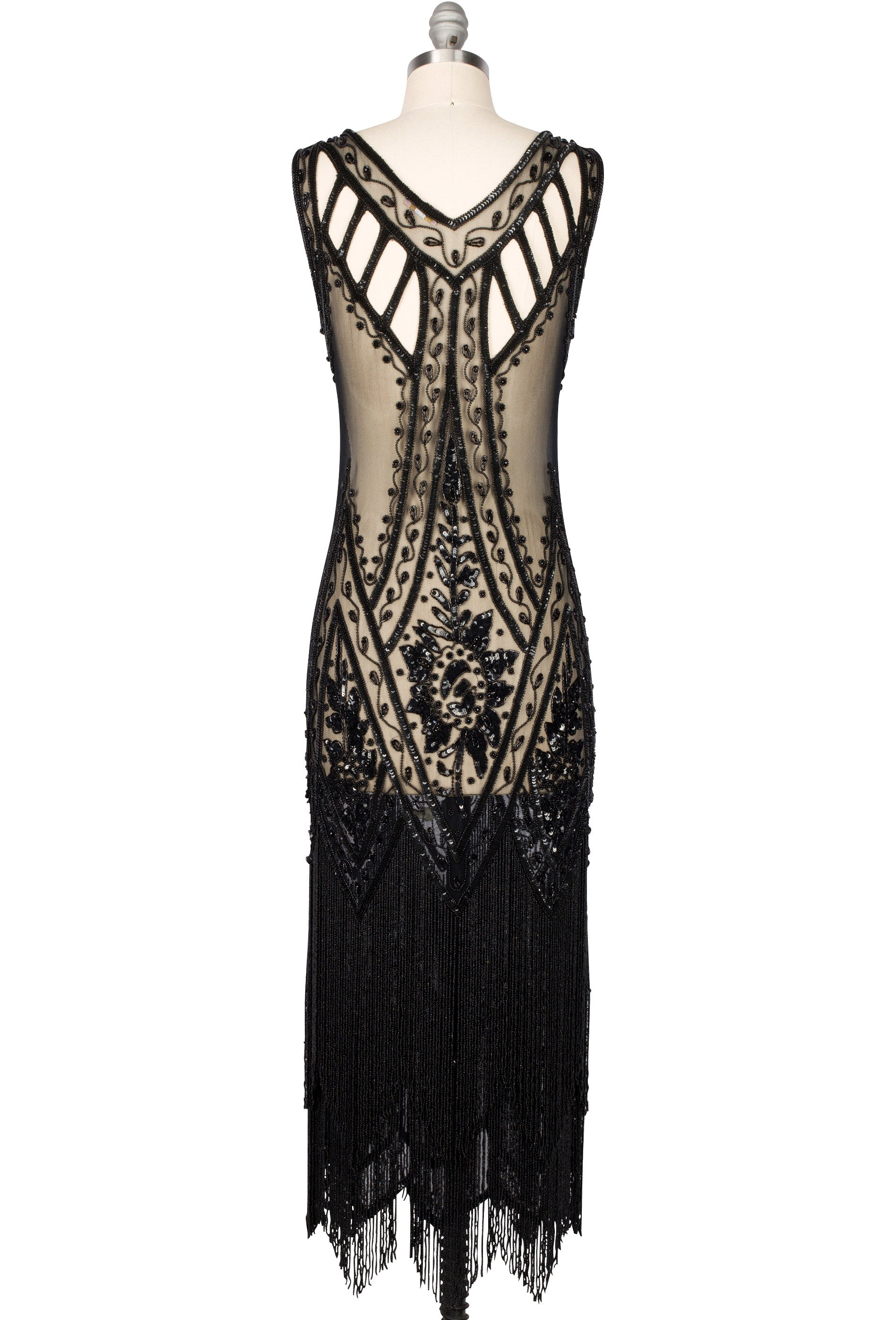 1920\'s Vintage Flapper Beaded Fringe Gatsby Gown - The Icon - Black ...