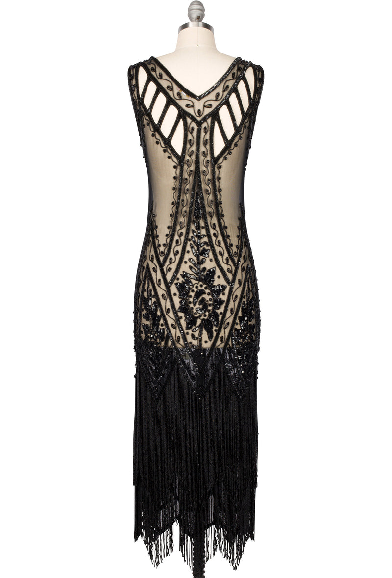 1920's Vintage Flapper Beaded Fringe Gatsby Gown - The Icon - Black Jet - Full-Length - The Deco Haus