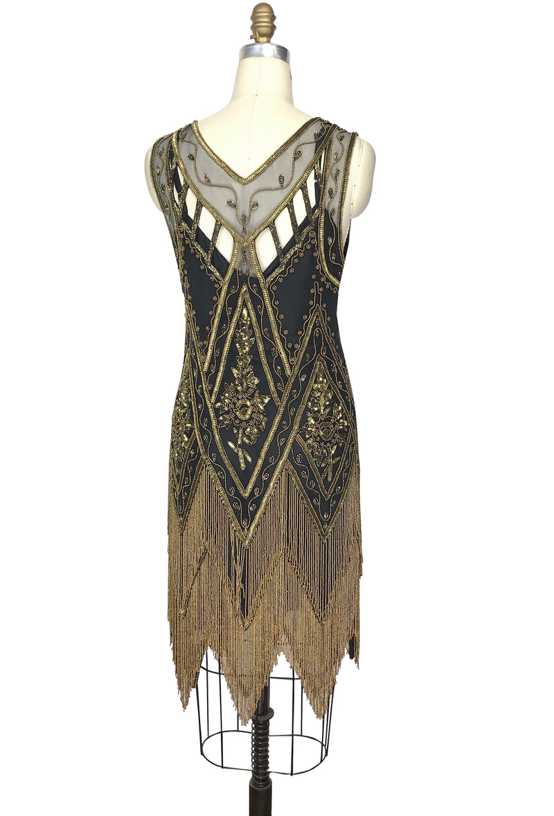 1920's Vintage Flapper Beaded Fringe Gatsby Gown - The Icon - Black Deco Bronze - The Deco Haus