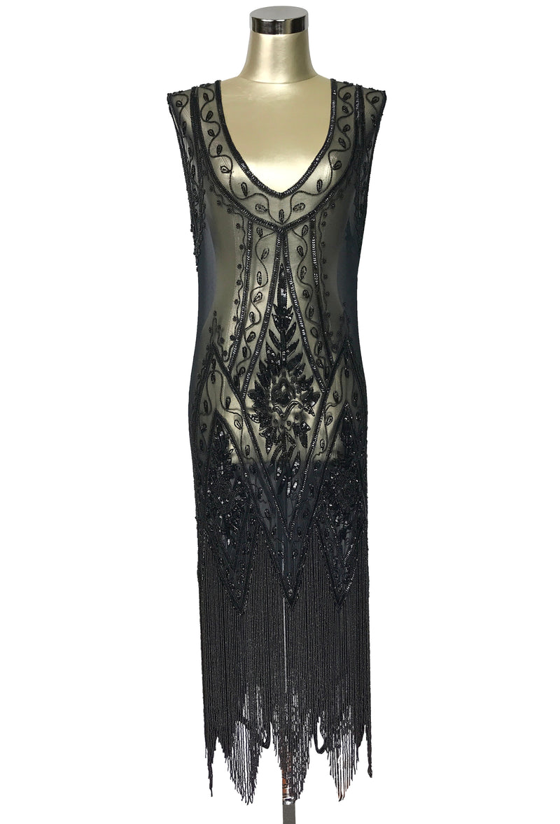 1920's Vintage Flapper Beaded Fringe Gatsby Gown - The Icon - Black Jet - Tea-Length