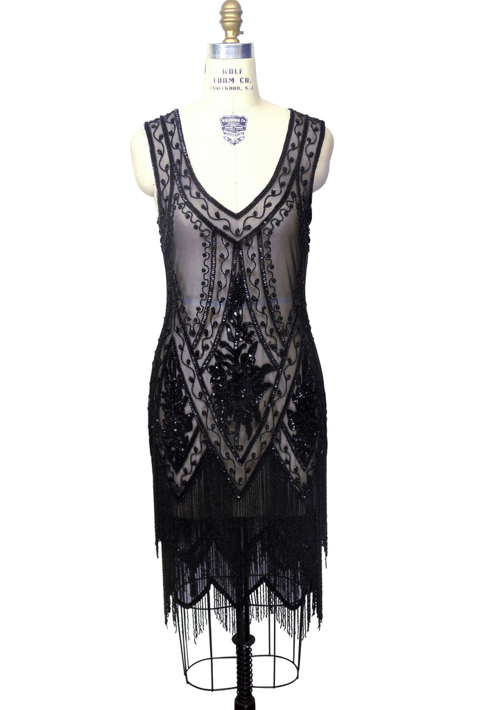 1920's Vintage Flapper Beaded Fringe Gatsby Gown - The Icon - Black Jet