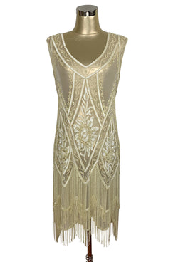 1920's Vintage Flapper Beaded Fringe Gatsby Gown - The Icon - Buttercream Yellow