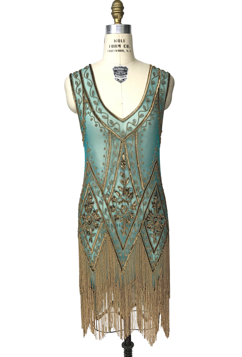 1920's Vintage Flapper Beaded Fringe Gatsby Party Gown - Cut Out Back - The Icon - Gold on Turquoise