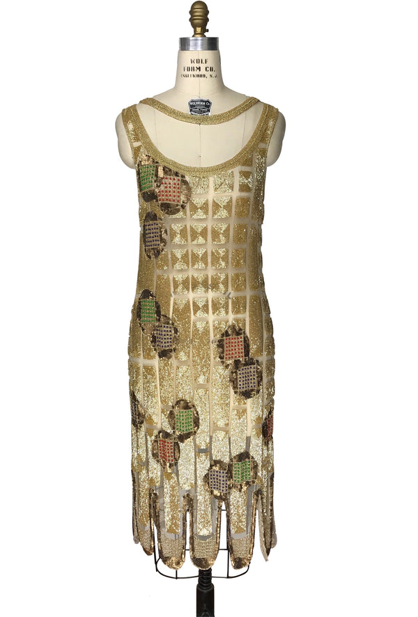 1920's Vintage Flapper Beaded Fringe Shoulder Drape Gatsby Gown - The Modern Sphere - Gold