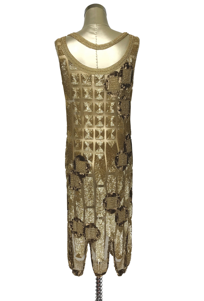 1920's Vintage Flapper Beaded Fringe Shoulder Drape Gatsby Gown - The Futurist - Gold - The Deco Haus