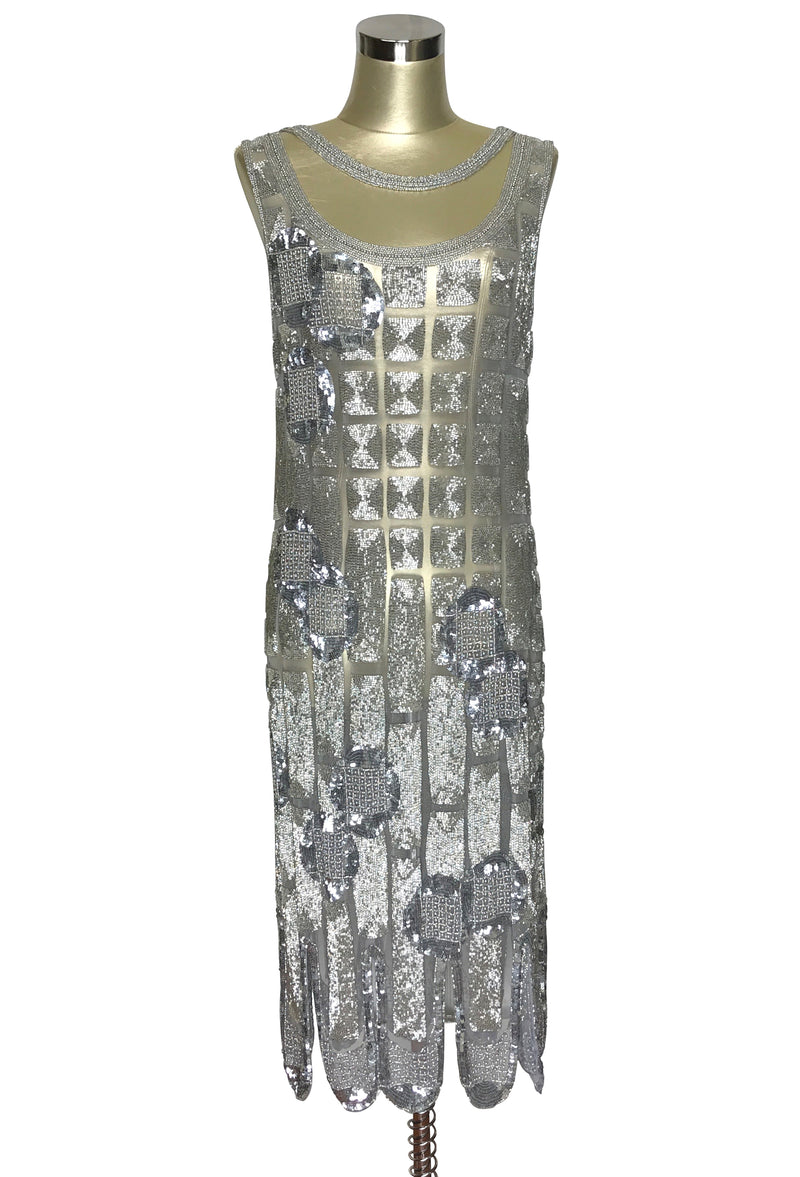 1920's Vintage Flapper Beaded Fringe Shoulder Drape Gatsby Gown - The Futurist - Silver - The Deco Haus