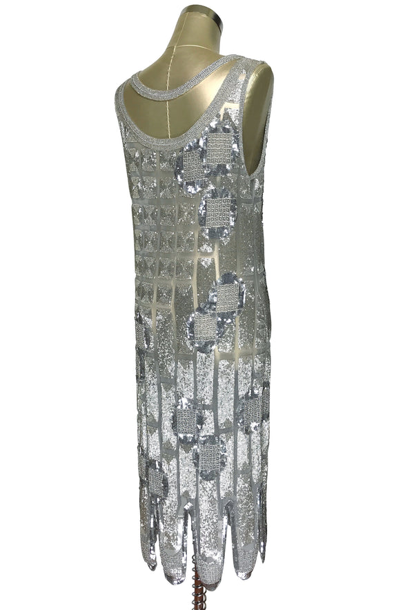 1920's Vintage Flapper Beaded Fringe Shoulder Drape Gatsby Gown - The Futurist - Silver