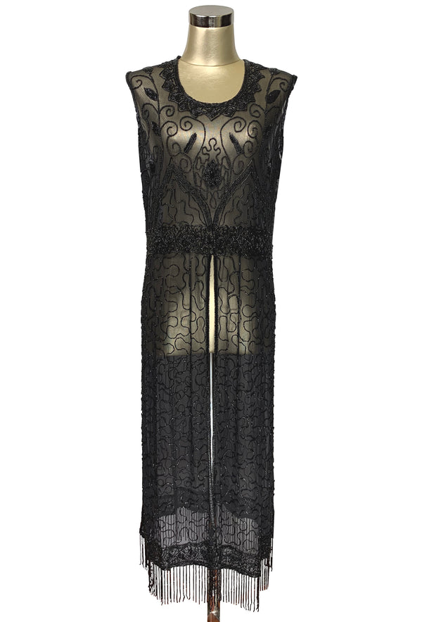 1920's Vintage Panel Fringe Party Dress - The Titanic - Black Jet