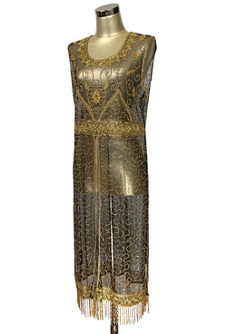 1920's Vintage Panel Fringe Party Dress - The Titanic - Gold on Black