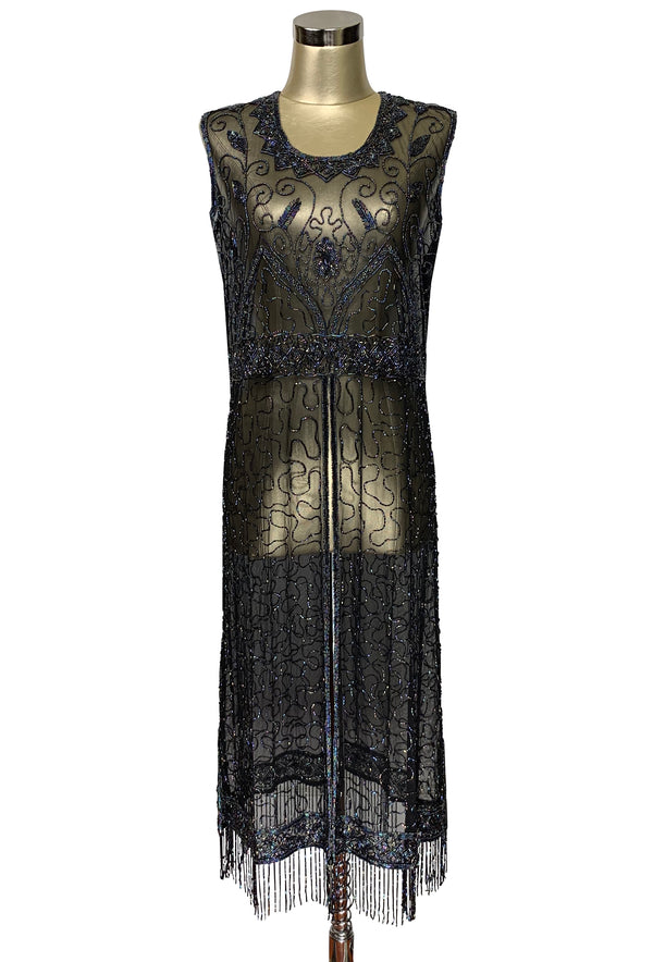 1920's Vintage Panel Fringe Party Dress - The Titanic - Iridescent on Black