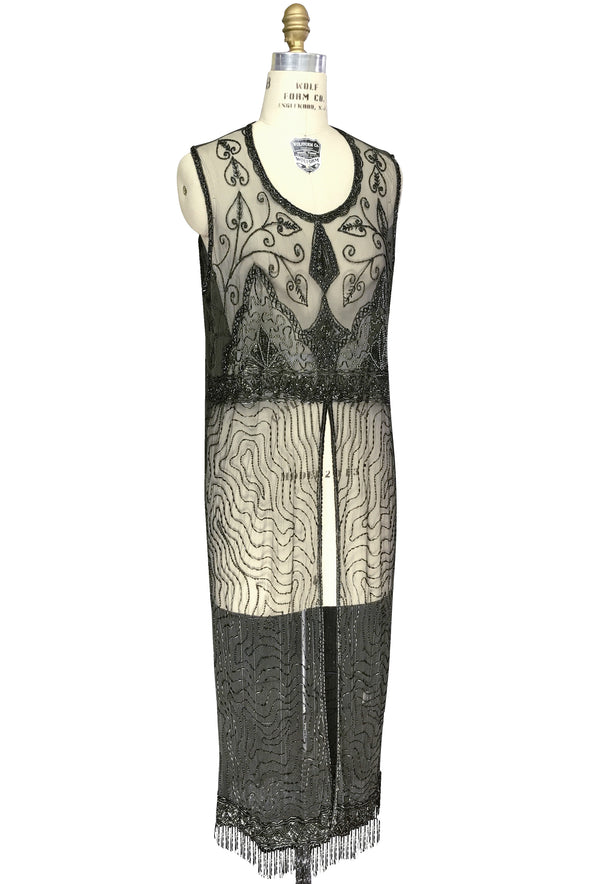 1920's Vintage Panel Fringe Party Dress - The Titanic - Laurel Green - The Deco Haus
