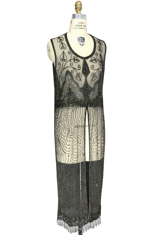 1920's Vintage Panel Fringe Party Dress - The Titanic - Laurel Green