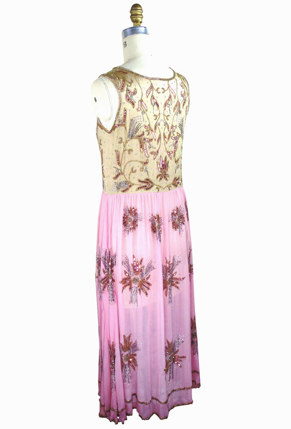 1920's Vintage Silk Beaded Bohemian Gatsby Party Après Gown - Ballet Pink and Gold