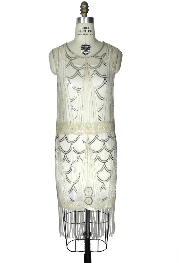 1920's Vintage Mesh Beaded Fringe Gatsby Wedding Dress - The Palais