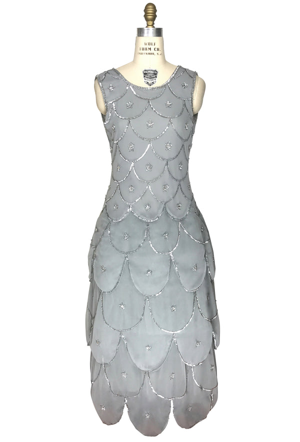 1920s Beaded Crinoline Party Dress - The Deco Scallop  - Silver Grey - The Deco Haus