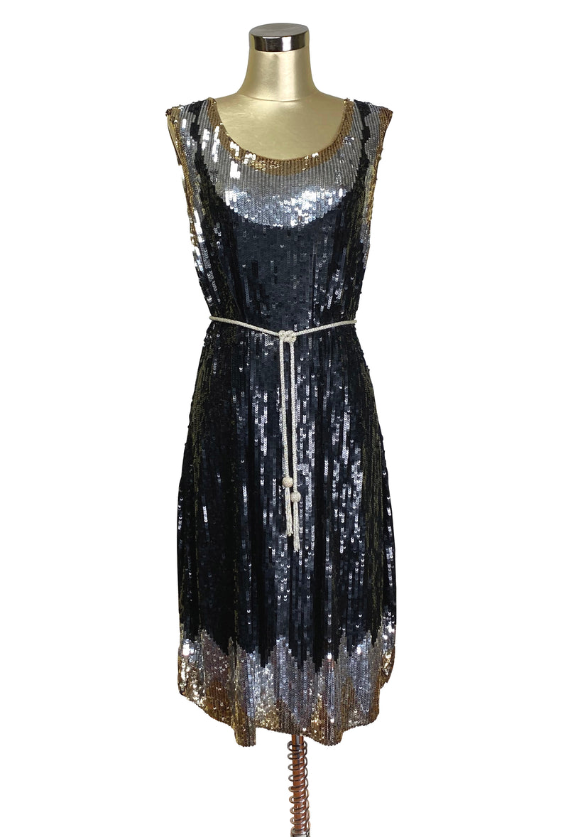 1920s Beaded Sequin Party Dress - Deco Shimmer - Black Silver